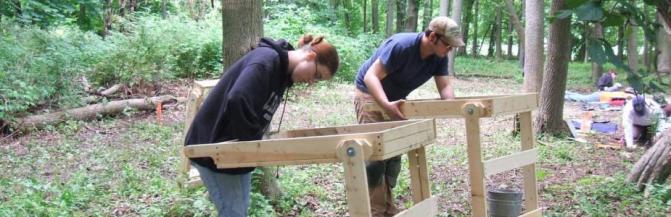Students assembling racks